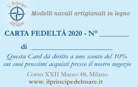 Negozio di Modellismo Navale a Milano - tessera sconto